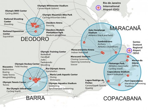 Map of Olympic sites in Rio de Janeiro
