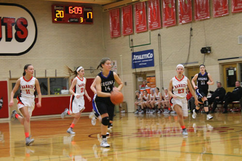 Colleen Palmer dribbling down the court at Resurrection