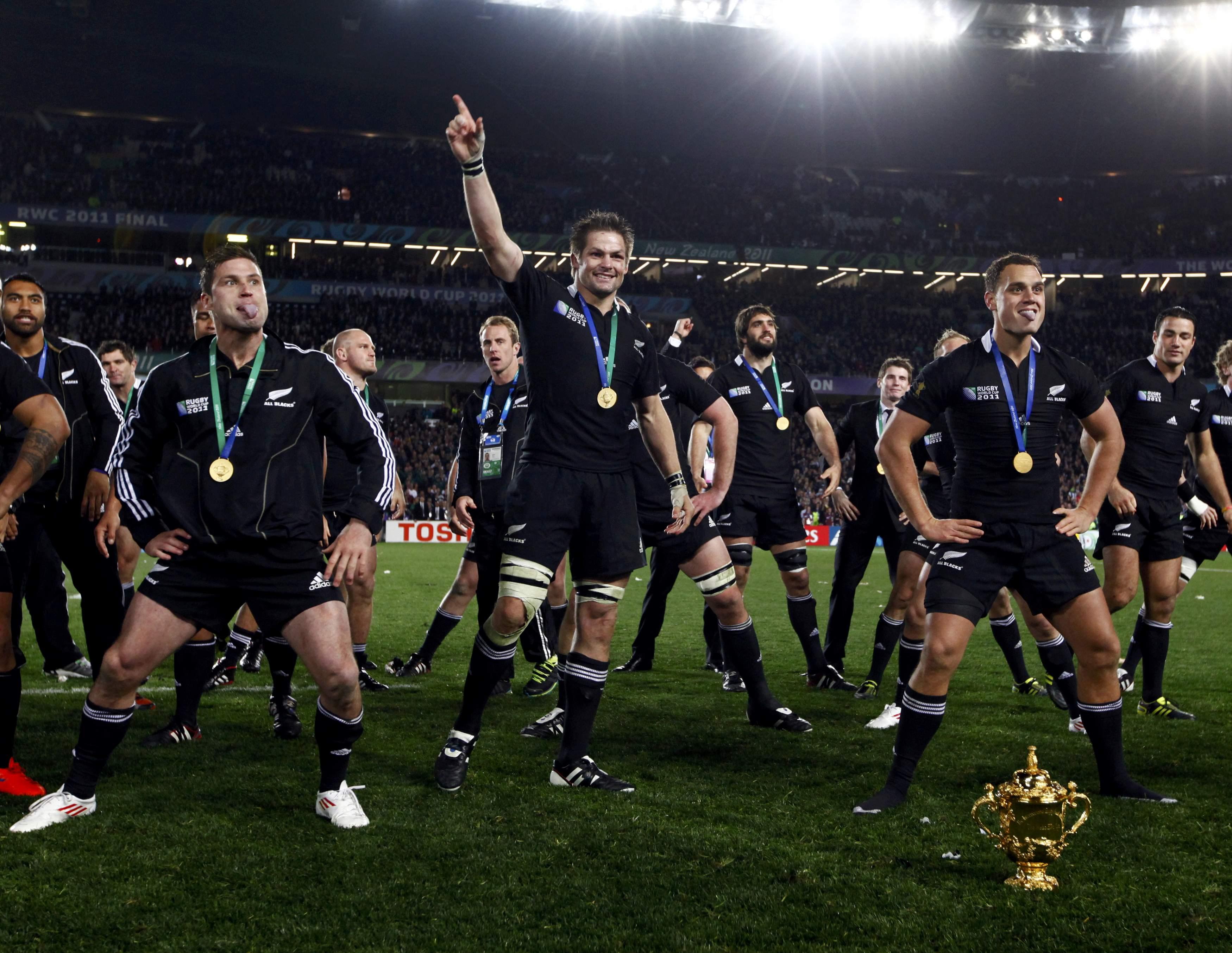 New Zealand All Blacks celebrating a win