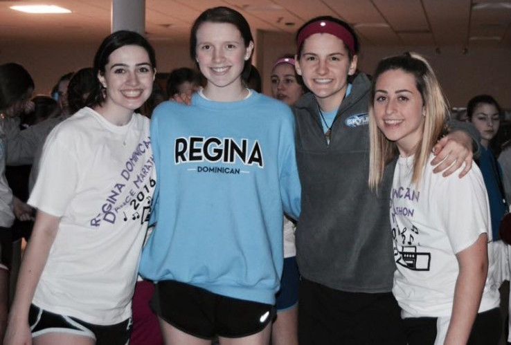 Bella D'Agostino '17, Maddy Fox '17, Sam Koutnik '17, and Allie Svahula '17 enjoy a break from dancing at the 2016 Dance Marathon.  Photo Credit/ Maddy Fox