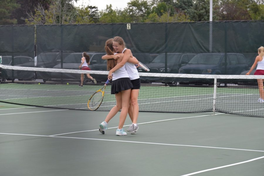 Floriana Hoxha and Barbara Schultz after defeating Loyola