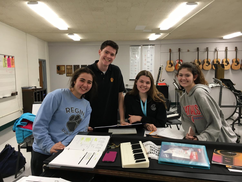 Maya Cornejo, Jack Howard, Lisa Spaniak, and Emma Donovan at rehearsal.