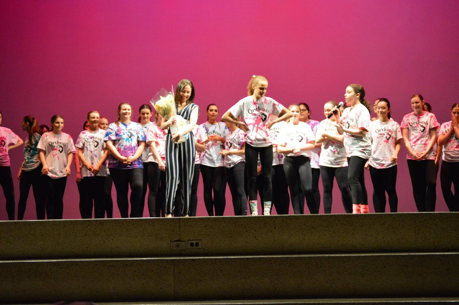 Orchesis thanks dance teacher, Ms. Valadez after the March performance.