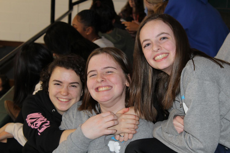 Regina girls having fun at the Winter Pep Assembly.