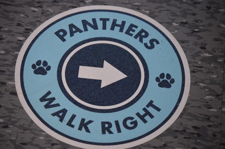A+Panther+sticker+on+the+ground+to+help+students+keep+social+distancing.+Photo%2FRD+Yearbook+Staff