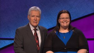 Photo Courtesy of Ms. Heidi Eichler. Ms. Eichler with Alex Trek at her 2016 Jeopardy! taping.
