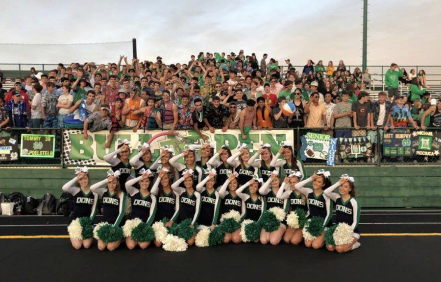 Notre+Dame+Cheerleaders+with+the+Notre+Dame+student+section+at+a+football+game.