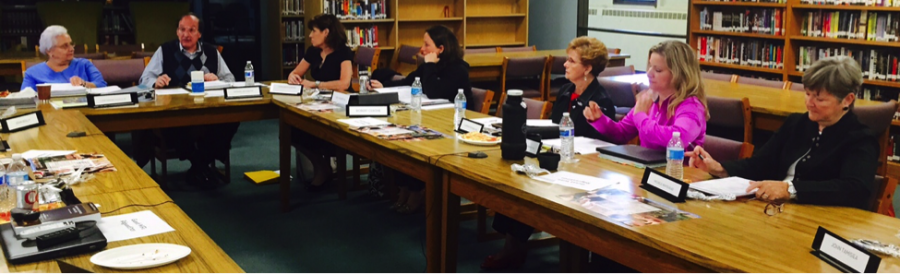 Mr. Thomas Jaconetty, Board Chair facilitates a discussion with the Regina Dominican Board of Directors. Pictured:  S. Mary Margaret Pachucki, OP, President, Mr. Thomas Jaconetty, Chair, Mrs. Lynn Caronia Smith, Liza Jessen, '00, S. Dorita Wotiska, OP, Sarah Thorrens, '82, Michele Whitehead Photo Credit: Sister Mary Margaret