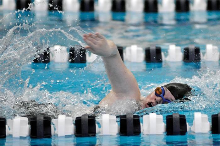 Sarah Allworth swimming freestyle. Photo courtesy of Sarah Allworth.