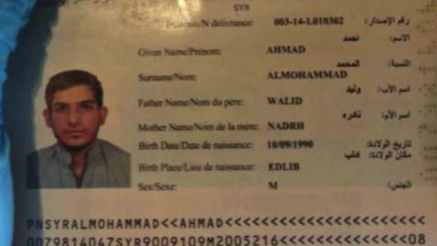 The forged passport of 'Ahmad al-Mohammad.' Photo courtesy of: BBC