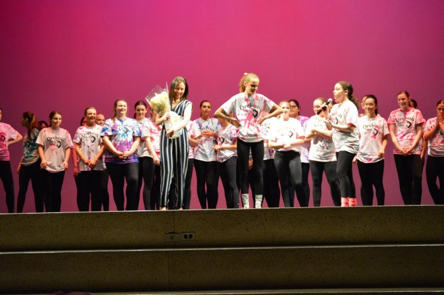 Orchesis+thanks+dance+teacher%2C+Ms.+Valadez+after+the+March+performance.