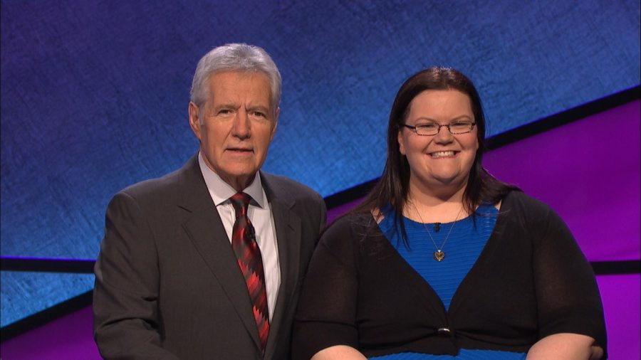 Photo+Courtesy+of+Ms.+Heidi+Eichler.+Ms.+Eichler+with+Alex+Trek+at+her+2016+Jeopardy%21+taping.+